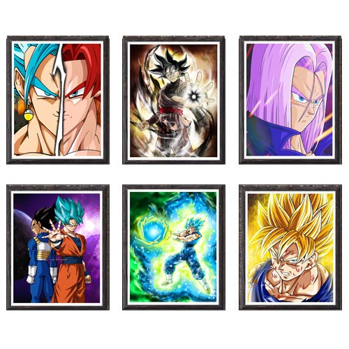 Juego de 6 piezas de Dragon Ball Trunks Dark Goku Vegeta Anime Póster de impresión artística para decoración de dormitorio, juego de 6,8 x 10 pulgadas, sin marco