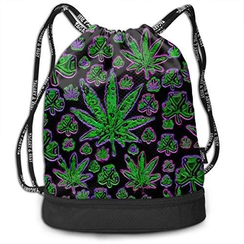 GennyHeger Weed Pot Leaf Sport Travel Lightweight design Multifunctional Drawstring Backpack 3D printing is realistic Drawstring Bags Gym BagUnisex Bundle Backpack