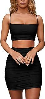 レディース セクシー スリング ベストプリーツパックヒップ スカート ツーピース 女性のファッションバッグヒップスカート なドレスファッションセクシーなショートスカート(SーXL)