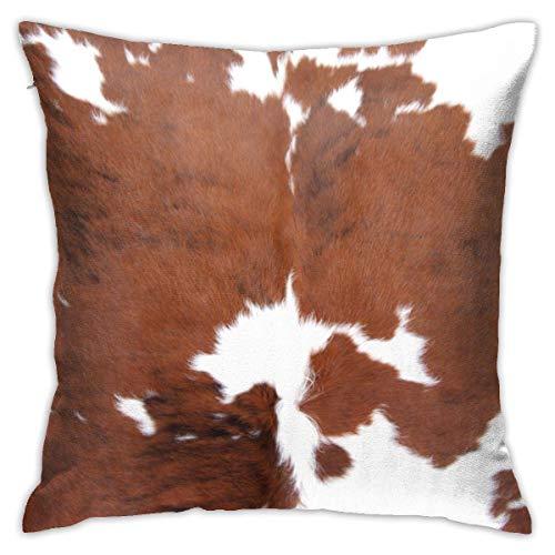 Lawenp Funda de Almohada 18x18 Pulgadas Funda de Almohada Cojín para sofá Dormitorio Coche Piel de Vaca Piel de Animal de Granja Leopardo Vaca marrón