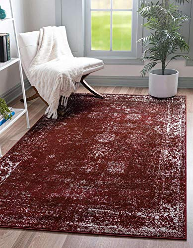 Unique Loom Sofia Collection Traditional Vintage Area Rug, 7' x 10', Burgundy/Ivory