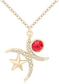 Charm Double Crescent Moon Sun Star Pendant Necklace Jewelry with Rhinestone for Women Girl Teen 18in Chain