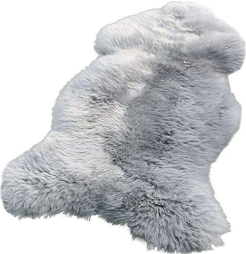 Zaloop Lammfell Schaffell Silber grau echtes Fell ca. 90-100 cm
