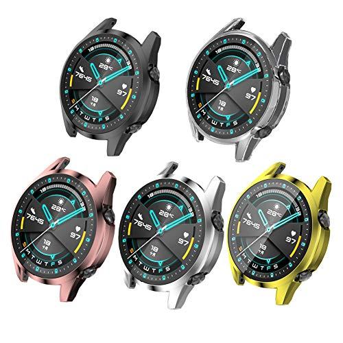 Axcellent Estuche Protector de Pantalla Compatible con Huawei Watch GT2 42mm&46mm Compatible con Huawei Watch GT2e Funda Protectora de Silicona, [Marco de Color metálico enchapado] Shell Protector