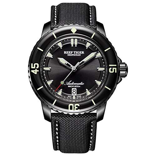 Reef Tiger Tauchen Herren PVD phosphoreszierende Automatik Uhr mit Nylon Gurt rga3035