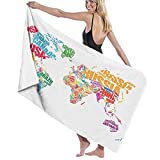 ASDTF Large Soft Microfiber Toalla de baño Manta,World Map World Europe America Print,Bath Toalla de Playa for Family Hotel Travel Swimming Sports,52' x 32'