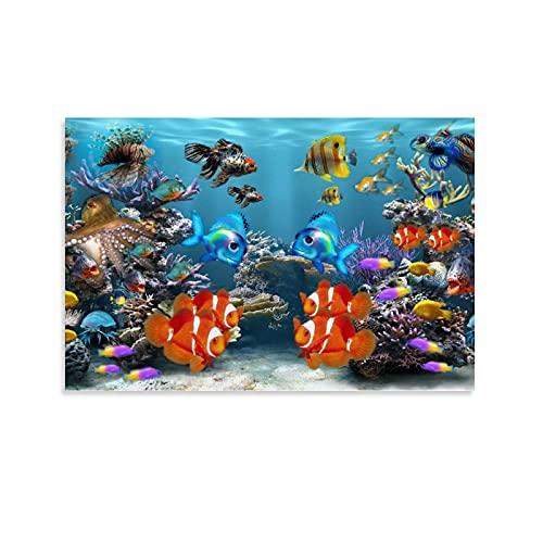 xingyao Tier-Poster mit Fisch-Aquarium-Bildschirmschoner, Leinwand-Kunstposter und Wandkunstdruck, modernes Familienschlafzimmer, 40 x 60 cm