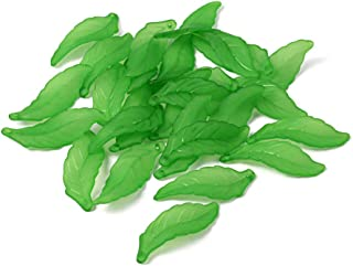 Craftdady 50Pcs Transparent Frosted Green Acrylic Long Leaf Pendants 38x14mm Plastic Leaf Bead Charms with 2mm Hole for DIY Jewelry Craft Making
