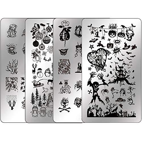 Nail Stamping Kit Halloween Nail Plates - Ejiubas Nail Stamping Plate Nail Art Stamping Kit Nail Polish Stamping Plate Set Christmas Nail Stamping Templates EJB-X07 & X08