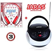 Jaras 2-Pack Bundle Kids Package + Sport Portable Stereo CD Player with AM/FM Stereo Radio and Headphone Jack + Jaras Red Kids Headphones Included in the Bundle Package