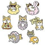 JKDFGJ 7pcs Esercizio di Alimentazione Quotidiana Spille smaltate Cani dei Cartoni Animati Spille Distintivi con Risvolto Spille alla Moda Regali di Gioielli per Gli Amici