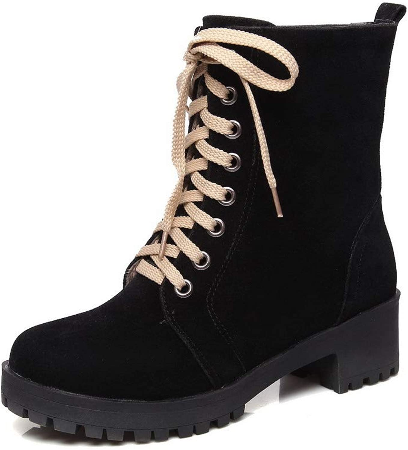 WeiPoot Women's Mid-Calf Lace-Up Frosted Kitten-Heels Round-Toe Boots, EGHXH026791