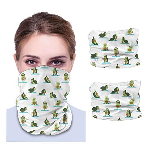 SLHFPX Cute Avocado Yoga Relax Neck Gaiter Face Mask Set of 2 Bandana Anti-Dust Marks Windproof Neck Warmer for Outdoor Sports