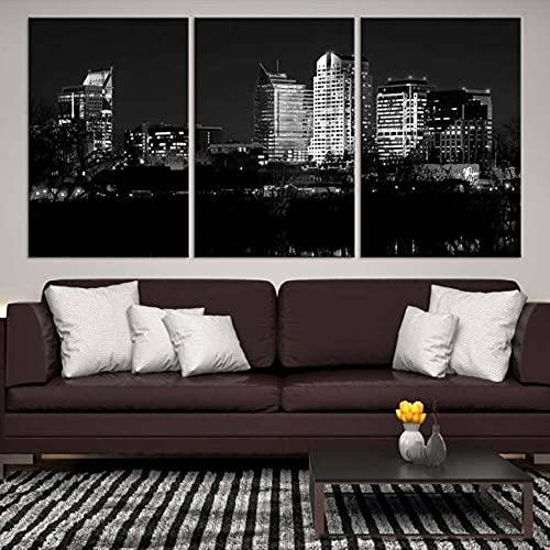 Lona Murales Cuadro moderno en lienzo 3 piezas XXL Impresiones En Horizonte de Sacramento en blanco y negro Hd Arte De Pared Imágenes Modulares Sala De Estar Decoración Para El Hogar 150X70Cm