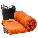 Travelets インナーシュラフ フリース 寝袋 毛布 ブランケット 軽量 コンパクト ダブルジッパー 優しい肌触り アウトドア キャンプ 車中泊 防災グッズ 多機能 丸洗い可 オールシーズン対応 (オレンジ)