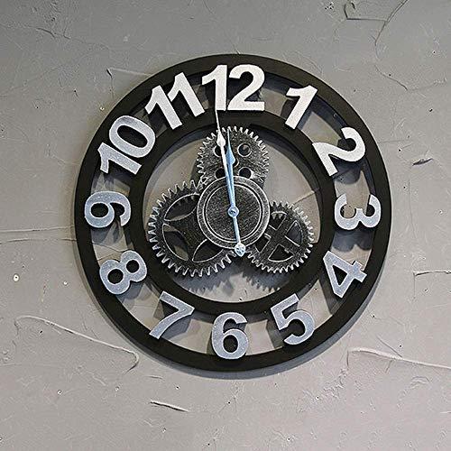 DIEFMJ Industrial Wind Gear Reloj Bar Sala de Estar Dormitorio Reloj Redondo para el hogar Reloj de Bolsillo de Moda Personalizado 50cm (Color: Blanco)