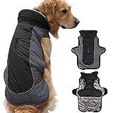 Idepet Manteau chaud de chien, veste de neige résistant à l'eau pour chien résistant au vent, vêtements de protection réfléchissants pour chiens coupe-vent en coton molletonné doublés