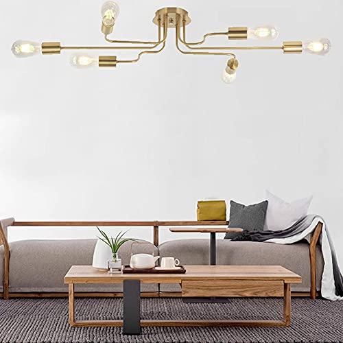 6/8 Cabeza Lámpara Techo Metal E27 Lámpara Colgante de Techo LED Moderna, 8 Tamaño de la Cabeza: 110 cm / 90 cm * 43.31/34.43in,A 6 Heads