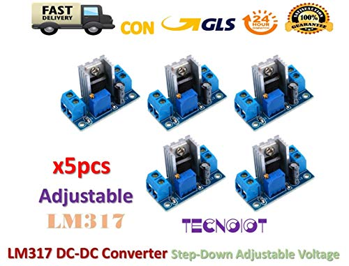TECNOIOT 5pcs LM317 DC-DC Converter Adjustable Linear Regulator Step Down Circuit Board