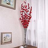 VLUNT 5 flores artificiales de ramas largas, simulación de flores de ciruelo para fiestas, oficina, jardín, decoración del hogar, accesorios de fotografía, color rojo