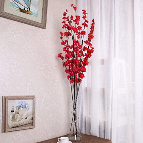 VLUNT Flor artificial de ramas largas (5 unidades, simulación, flor de ciruelo, para...