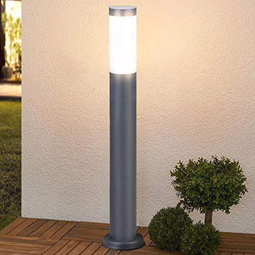 Bakaji Lampada Paletto Luce da Parete Giardino in Acciaio Inox Palo Illuminazione Esterno con Paralume Attacco E27 per Lampadina Max 40W Altezza 100 cm Design Moderno Colore Grigio