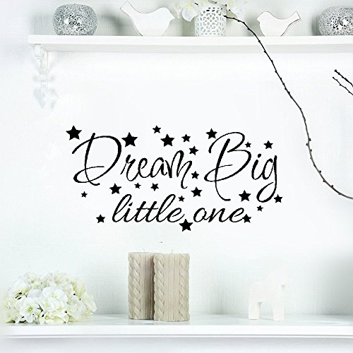 Stickers Muraux Wall Stickers Art Decor Decals New Star Dream Big Little One Phrases Wall Sticker bebe enfants Inspiration Motivation Phrases Kids Room Vinyl Home Decoration