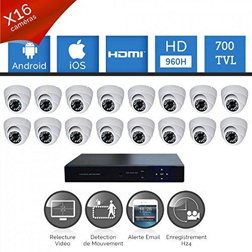 Talinfo-Kit di videosorveglianza composto da 16 Videocamere HD SONY 700-TVL 960H senza hard disk, 16 e video alim. cavi, schermo da 19, garanzia 1 anno incluso