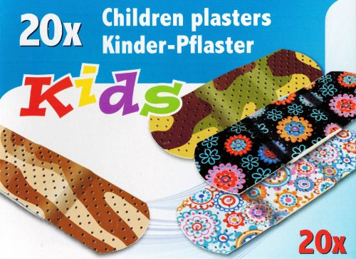 20x KINDER-PFLASTER mit lustigen Motiven Kinderpflaster Wundpflaster bunt