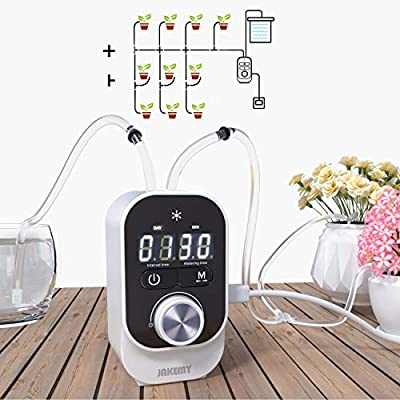 JAKEMY Automatic Drip Irrigation Kit,Mini Size Big Power Houseplants Self Watering System with 1-23 Hour & 1-30 Day Interval Programmable Timer,for 10 Potted Plants Clear