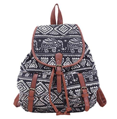 Demarkt Damen Canvas Rucksack Daypack Backpack Vintage Freizeitrucksack Schulrucksack mit Großer Kapazität Elefant Muster (Schwarz)