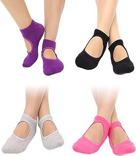 Garneck 4 Pairs Women Dance Sport Yoga Pilates Non Skid Grips Ballet Short Socks Ankle Socks for Women Girls