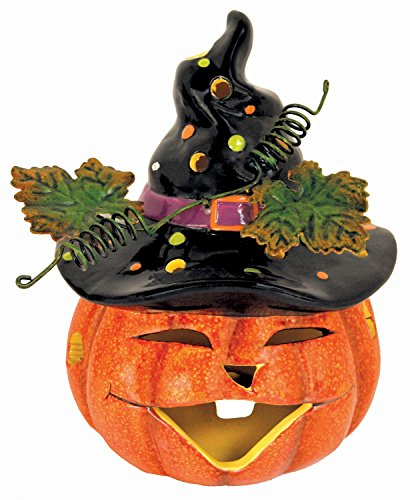 Tabletop Electric Pumpkin Light with Witch Black Hat