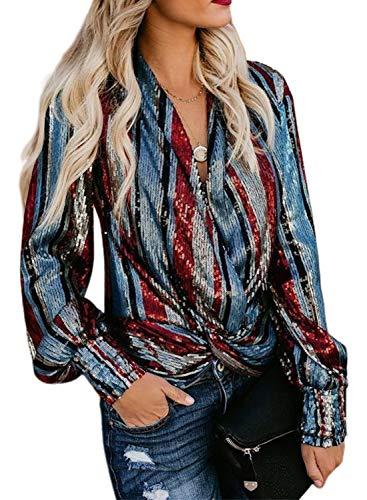 Dokotoo Damen Cardigan Weste leicht bedruckt Casual Pareo Poncho hoher Ärmel Hemd mehrfarbig gestreift mit Pailletten Gr. XXL, mehrfarbig