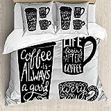 ABAKUHAUS Kaffee Bettbezugs Set Für Doppelbetten, Container Silhouette, Milbensicher Allergiker geeignet mit Kissenbezügen, Hellgrau Schwarz