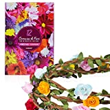 12 Couronne de Fleur pour Cheveux de première qualité - Couronne de Fleurs Enterrement de Vie de Jeune Fille - Guirlande de Fleur Enfant