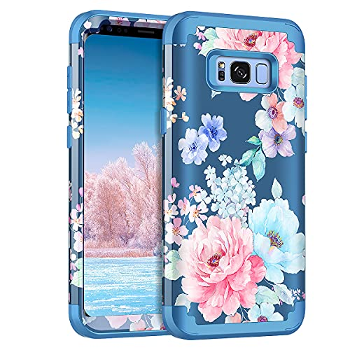 Rancase for Galaxy S8 Case,Three Layer Heavy Duty Shockproof Protection Hard Plastic Bumper +Soft Silicone Rubber Protective Case for Samsung Galaxy S8,Flower