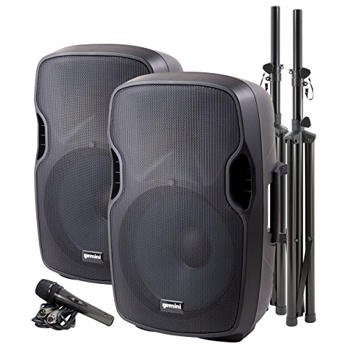 """Gemini Sound Bluetooth Dual Active/Passive 15"""" Inch Woofer 2000W Watts Speaker PA System, XLR Input/Output, 1/4"""" Inch Mic, RCA/AUX Inputs, USB SD Card, Mixer Stands Cables Microphone Set Bundle"""