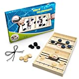 Large - Sling Puck Game for Adults and Kids – Classic Wooden Table Hockey with 20 Pucks and 2 Replacement Bands – Fun, Fast Paced, Tabletop Toy for Parent and Child Family Game Night Foosball Table