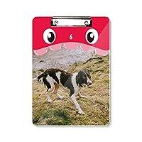 犬動物画像ブラックホワイト 虎口フラットヘッドフォルダー書き込みパッド学習A4