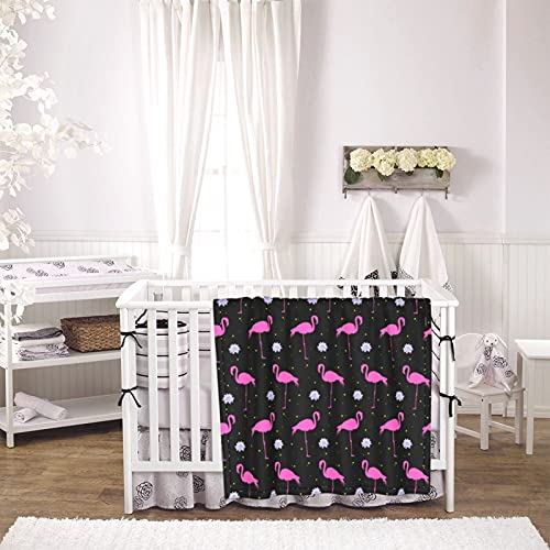 Flamingo Pattern Unisex Plush Blanket Infant Newborn Receiving Blanket for Crib Stroller Travel Decorative One Size Black