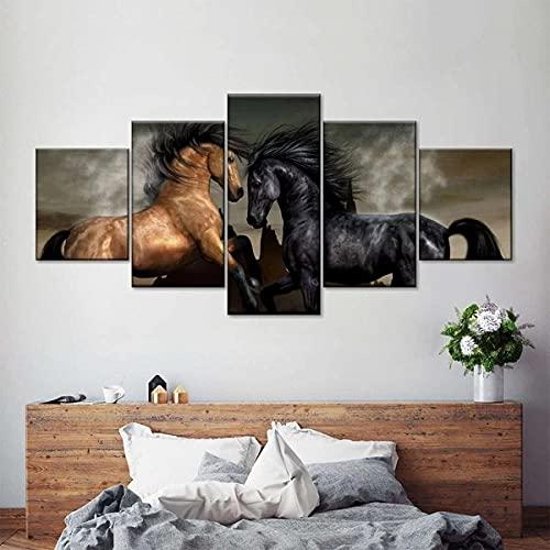 Composición de 5 Cuadros de Madera para Pared Caballos Salvajes Impresión Artística Imagen Gráfica Decoracion De Pared Abstracto 150 * 80cm con Marco