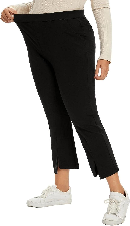 panlndamaris Women's Plus Size Flared Trousers, high Waist Slit Design Casual Formal Trousers