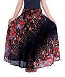 Lannaclothesdesign Women's 37' Long Maxi Skirt Bohemian Gypsy Hippie Style Clothing (US 37 INC S-M, Black Flower)