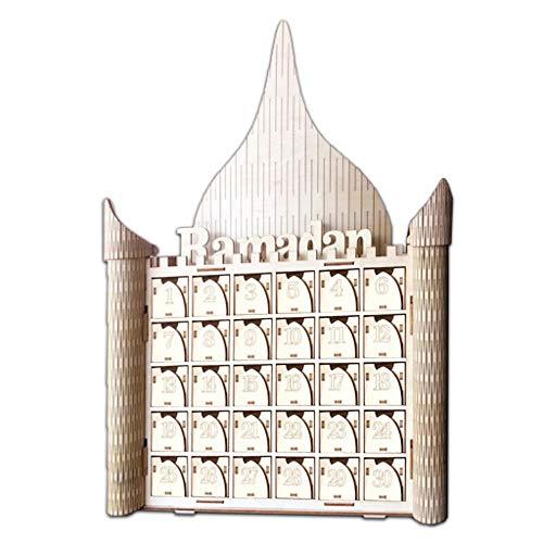KunmniZ Letrero de madera MDF musulmán Eid Mubarak Ramadán de Adviento Calendario de cuenta regresiva Casa Cajón Fiesta DIY Decoración de Fiesta Familiar