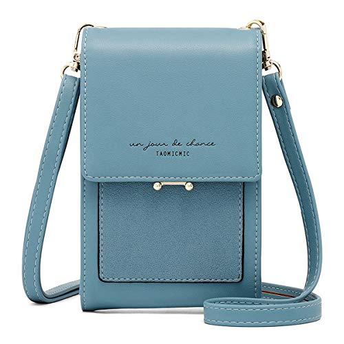 Aeeque Funda para teléfono móvil, bolso de hombro para mujer, bolso bandolera de piel sintética, pequeña bolsa para teléfono móvil con monedero de diseño para teléfono móvil de menos 7 pulgadas, Azul