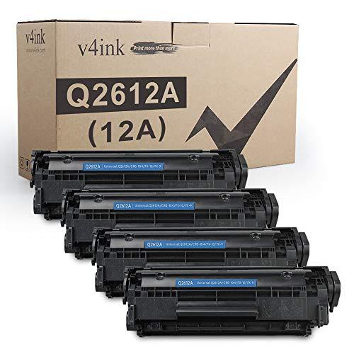V4INK 4PK Compatible Toner Cartridge Replacement for 12A Q2612A Toner Ink for use in HP Laserjet 1012 1018 1020 1022 1022N 3015 M1005 M1319F Canon D420 D450 D480 MF 4150 4350D 4370DN Printer
