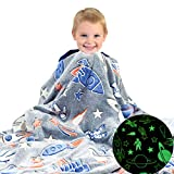 Space Blanket Glow in The Dark Luminous Astronaut Blanket for Kids - Soft Plush Star Space Ship & Planets Blanket Throw for Girls & Boys - Large 60in x 50in Glowing Starry Night Rocket Blankets Gift