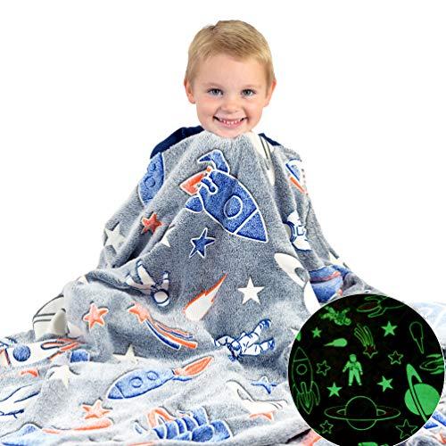 Space Blanket Glow in The Dark Luminous Astronaut Blanket for Kids - Soft...