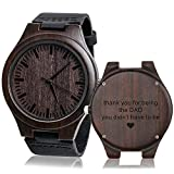 Personalized Men's Engraved Wood Watches Customized Natural Handmade Wooden Wrist Watch Analog...